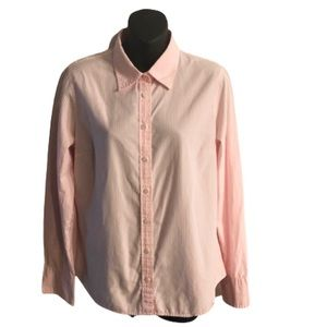 J Crew Slim Fit Striped Pink and White Button Down